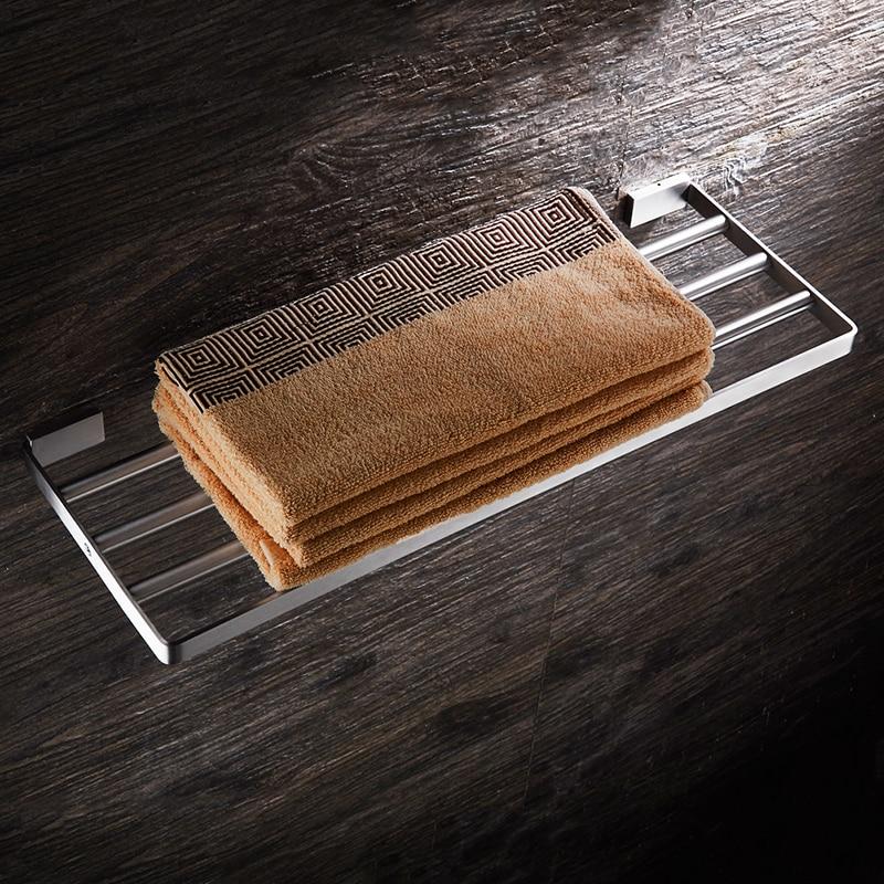 WEYUU Bathroom Accessories Towel Rack  304Stainless Steel Wall-mounted Towel Holder  Bathroom Shelf Brushed Nickel