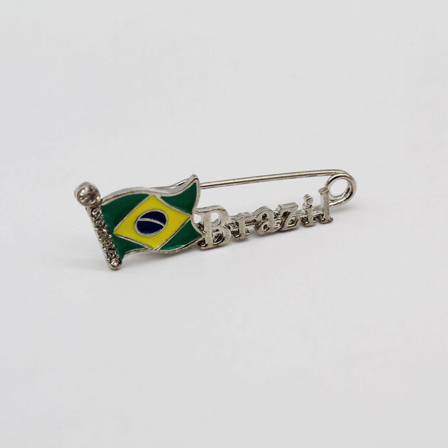 Classic Brazil Flag Brooch Pins Crystal Enamel Metal Brooches Jewelry For Women Dress Brooches Pin Badge Wholesale Gift  by Whlying
