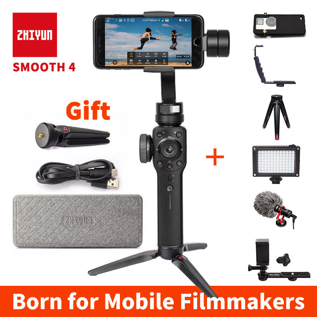 Zhiyun-tech Zhiyun Lisse 4 3 Axe Cardan Steadicam Stabilisateur pour iPhone X 8 Gopro Hero 5 SJCAM SJ7 xiaomi Yi 4 k caméra d'action