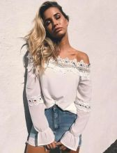 Summer Autumn Women Sexy Off Shoulder Lace Hollow Out Top Blouses Long Flare Sleeve Shirt Casual Blouses Slash Neck Top Clothing