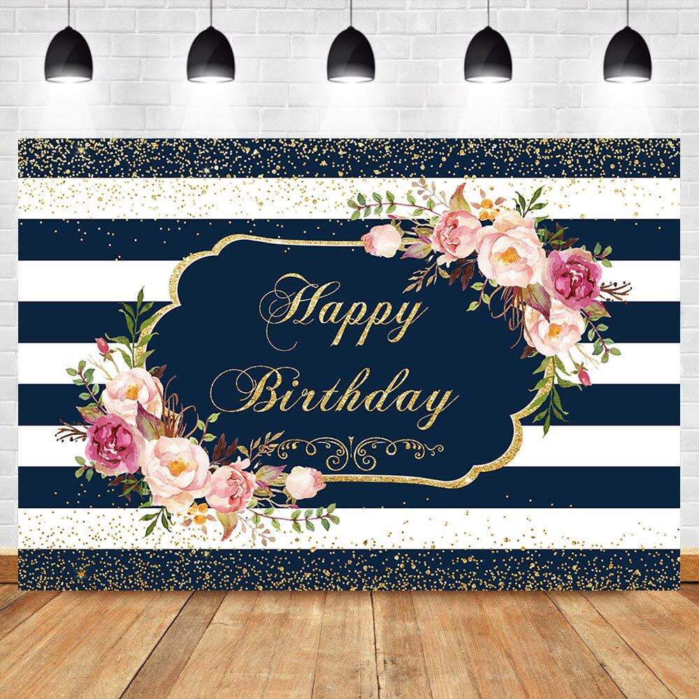 Happy Birthday Party Backdrop Dark Blue White Stripe Birthday Photography Background Custom Name Birthday Banner Backdrops Background Aliexpress