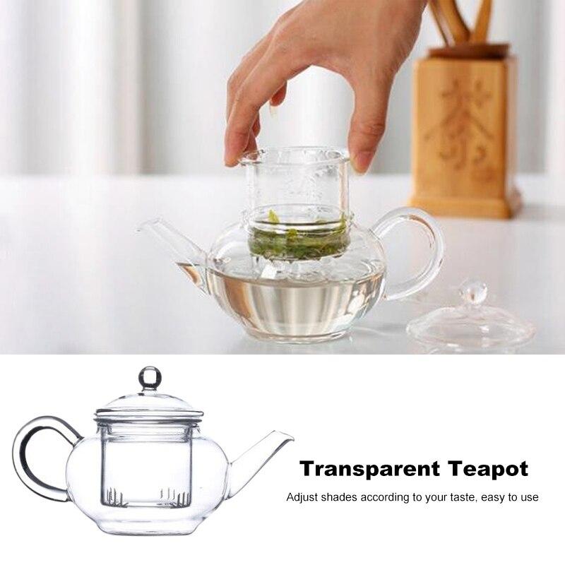 Théière en verre résistant à la chaleur avec infuseur à café en forme