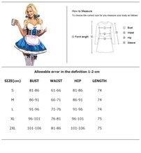 3 Pcs Bavaria Oktoberfest Dirndl Women Blue Beer Girl Outfit Dress+Apron Costume