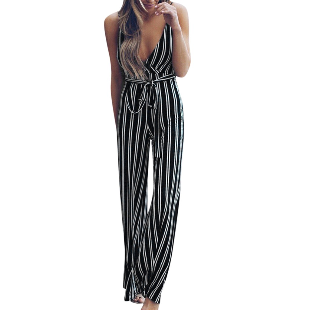 FREE OSTRICH Summer Women Sleeveless Suspender Backless Party Jumpsuit Striped Bodysuit Trousers Fashion Jumpsuit For Women 2020