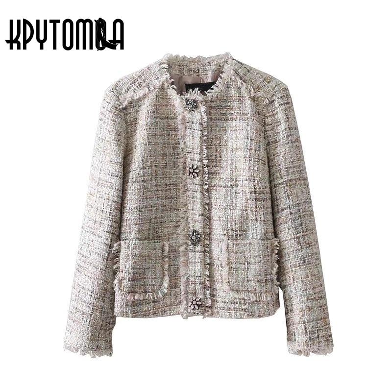 ad082100f620 Vintage-Sfilacciata-Trim-Gemma-Con-Bottone-A-Pressione-Tweed-Donne -Giacca-Cappotto-2018-Nuova-Moda-O.jpg