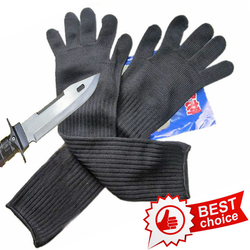 NMSAFETY Long Cut Resistant Working Gloves With Stainless Steel Wire Protective Safety Gloves Metal Tactical Butcher