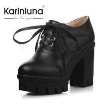 KarinLuna Fashion Thick High Heels Reitstiefel Frauen Lace Up Dicken Plattform Feste Frühjahr Herbst Schuhe Frau Casual Stiefel