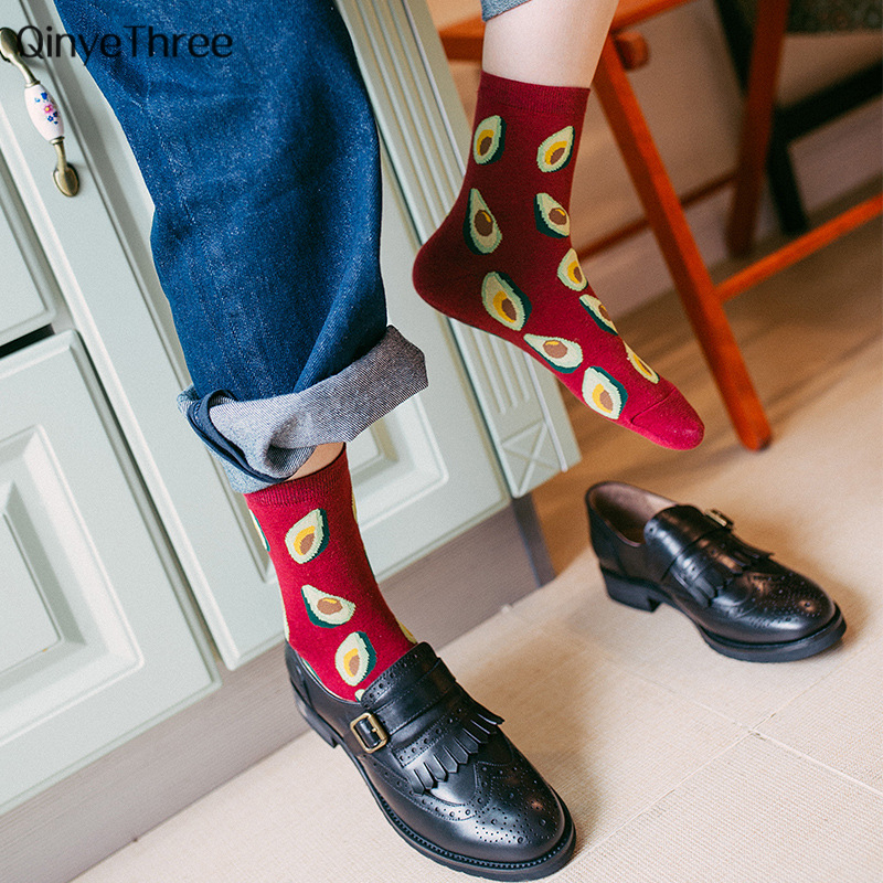 Korean Fresh Fruits   Socks   Lemon Avocado Pineapple Cherry Blueberry Orange Gardenias Banana Leaves Printed Unisex Happy fruit sox