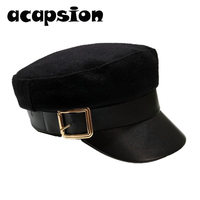 Black Wool Military Hat Women Newsboy Cap Woolen Leather Black Army Baker Boy Hat Spring Autumn Brand Sailor Flat Top Hat A073
