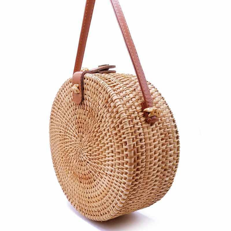 Handmade Tecido bolsa de Praia Saco Corpo Cruz 2019 Verão novo saco rattan handmade puro Qiuteng cesta bolsa de Ombro F-304 cenário exótico