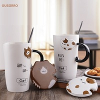 OUSSIRRO Creative cartoon mug ceramic glass cute couple cup coffee milk cup office cup lid spoon