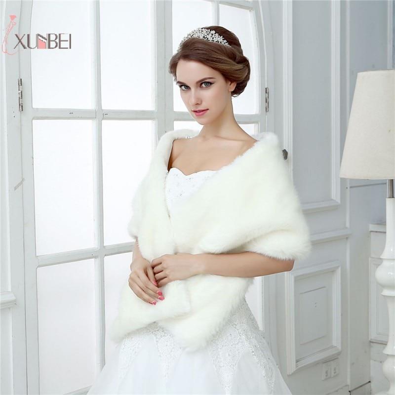 33a8ef437cf8 Chal de novia de boda de marfil chal abrigo de piel de imitación capa de  mujer Bolero encogimiento ...