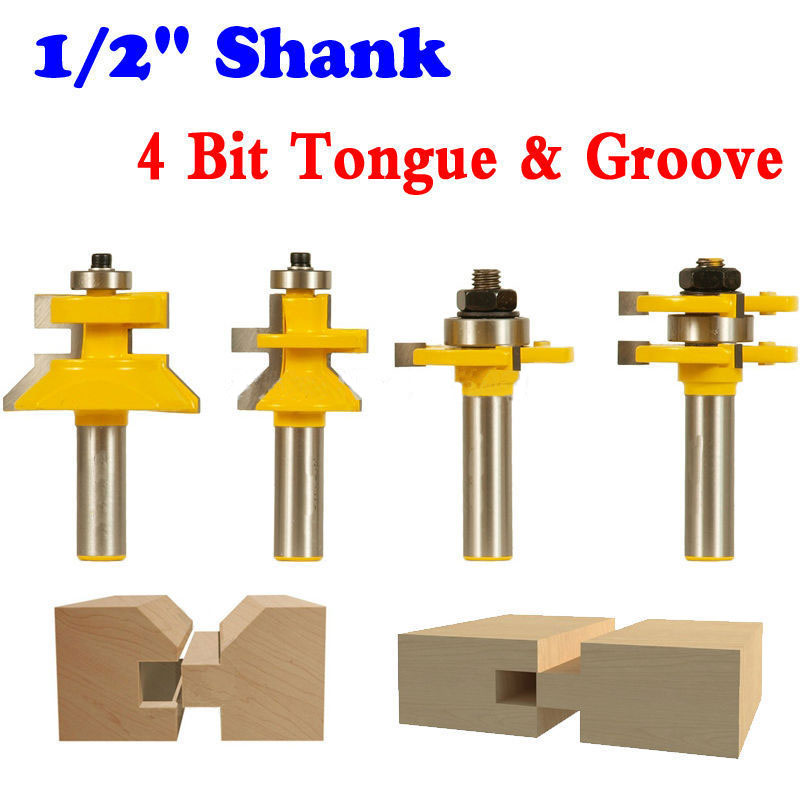 4 Bit Tongue & Groove and V-notch Router Bit Set - 1/2 Shank Line knife Woodworking cutter Tenon Cutter for Woodworking Tools 2pcs tongue