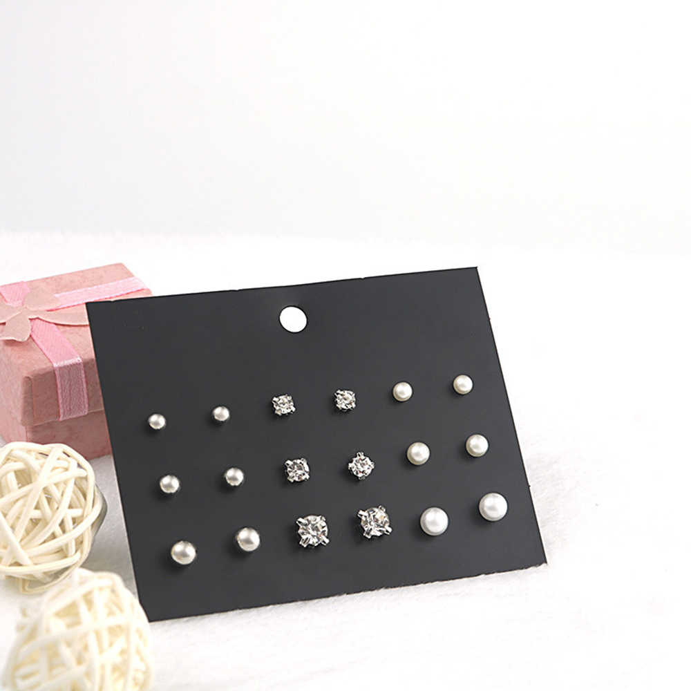 SUKI 9 Pair/Set Women Square Crystal Round Ball Stud Earrings Set for Women Girls Piercing White Pearl Earrings Jewelry Gift