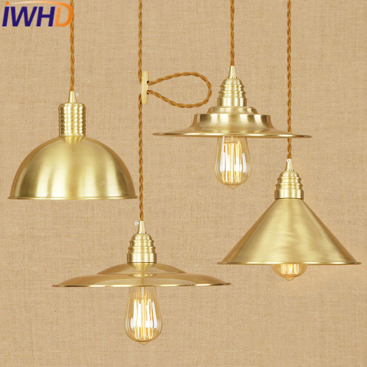 IWHD Iron Lamparas Pendant Light Fixtures Loft Industrial Vinage Lamp LED Pendant Lights Bedroom Hanglamp Suspension Luminaire