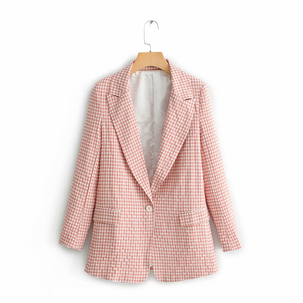2019 Women Fashion Plaid Print Pockets Blazers Office Lady Long Sleeve Casual Pink Coat Notched Collar Business Suit Tops CT217