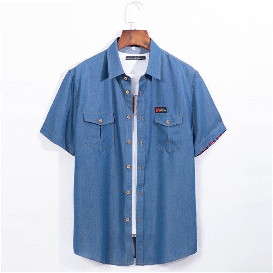 Plus Size 5xl 6xl Denim Shirt Men Short Sleeve Casual Loose  Jean Shirts Thin Summer High Quality Chemise Homme Xl5046