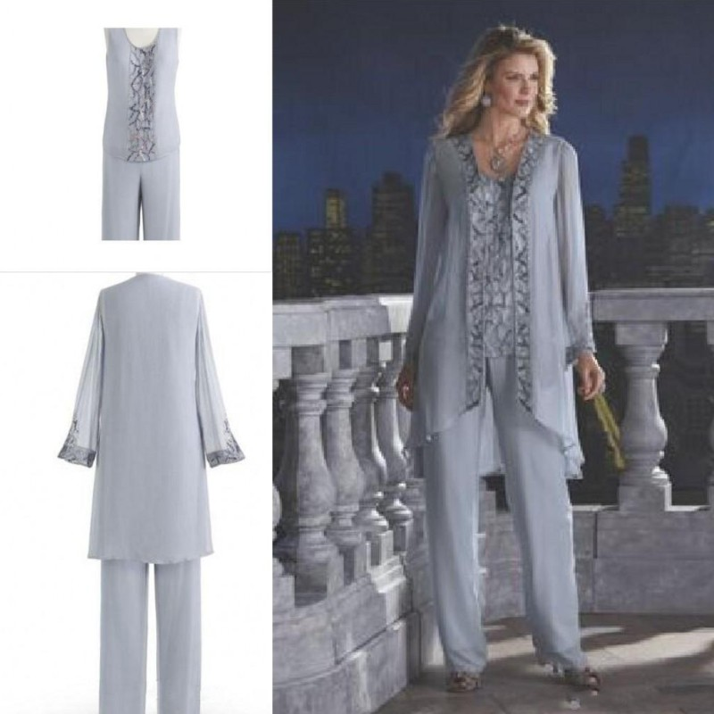1a9102084e000 Ronald Joyce Formal Mother Of The Bride Pant Suits Wedding Guests Chiffon Plus  Size Mother s Groom Dress Long Sleeve Sequin-in Mother of the Bride Dresses  ...