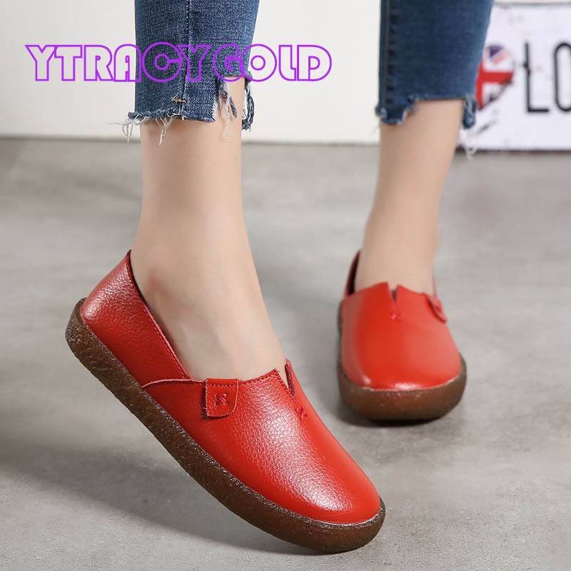 YTracyGold Flat Shoes Women Genuine Leather Loafers Summer Comfortable Casual Shoes Women Soft Shoes Female Outdoor Flats hellyhansen women s outdoor casual shoes leather shoes flat shoes