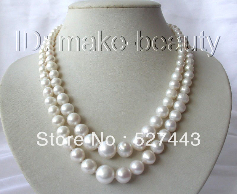 Wholesale free shipping >>stunning 2rows 6-12mm round white freshwater cultured pearl necklace free shipping stunning big 12mm baroque white freshwater cultured pearl necklace