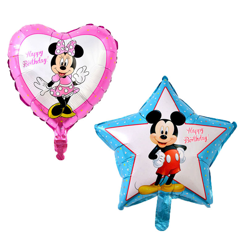 KUWANLE 10pcs/lot 45*45cm Cartoon Mickey Minnie Mouse Foil Helium Balloons Kids Inflatable Toys Birthday Party Decoration Globos
