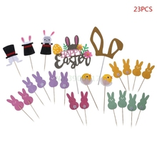 23pcs/set Cake Cupcake Toppers Rabbit Bunny Birthday Shower Happy Easter Wedding Party Decor Supplies christmas