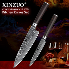 XINZUO 2 pc Damascus kitchen knife set 8 inches chef knives excellent stainless steel utility rosewood handle tool