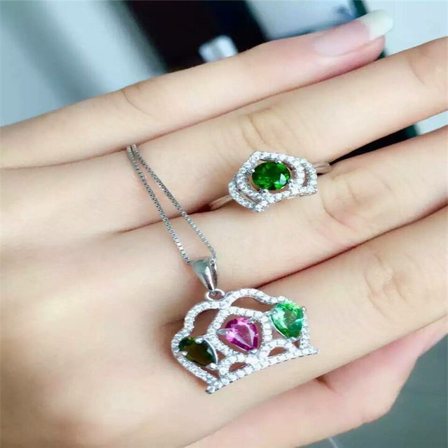 Aliexpresscom Buy Natural tourmaline set inlaid rose gold jewelry