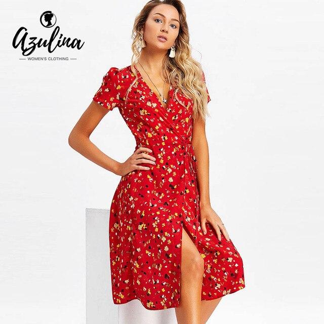 AZULINA Tiny Floral Wrap Midi Dress Women Dresses Summer Beach V-Neck Short  Sleeves Midi Dress Vestido 2018 Casual Robe Femme 6a46a1024