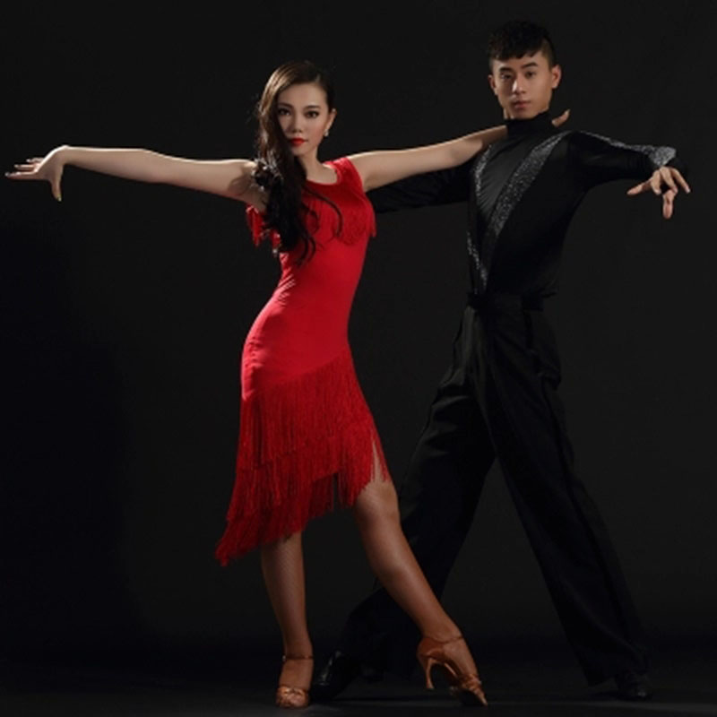 2019 Lady Latin Dance Practice/Performance Dresses Black Red Tassel Women Clothing For Cha Cha/Ruma/Samba/Latin Dancing Skirts