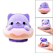 Tops Quality Purple Cat Slow Rising Furry Squishies Toy Squishes Stress Relief Toy for Kids Dropshipping Juguete exprimible Y*(China)