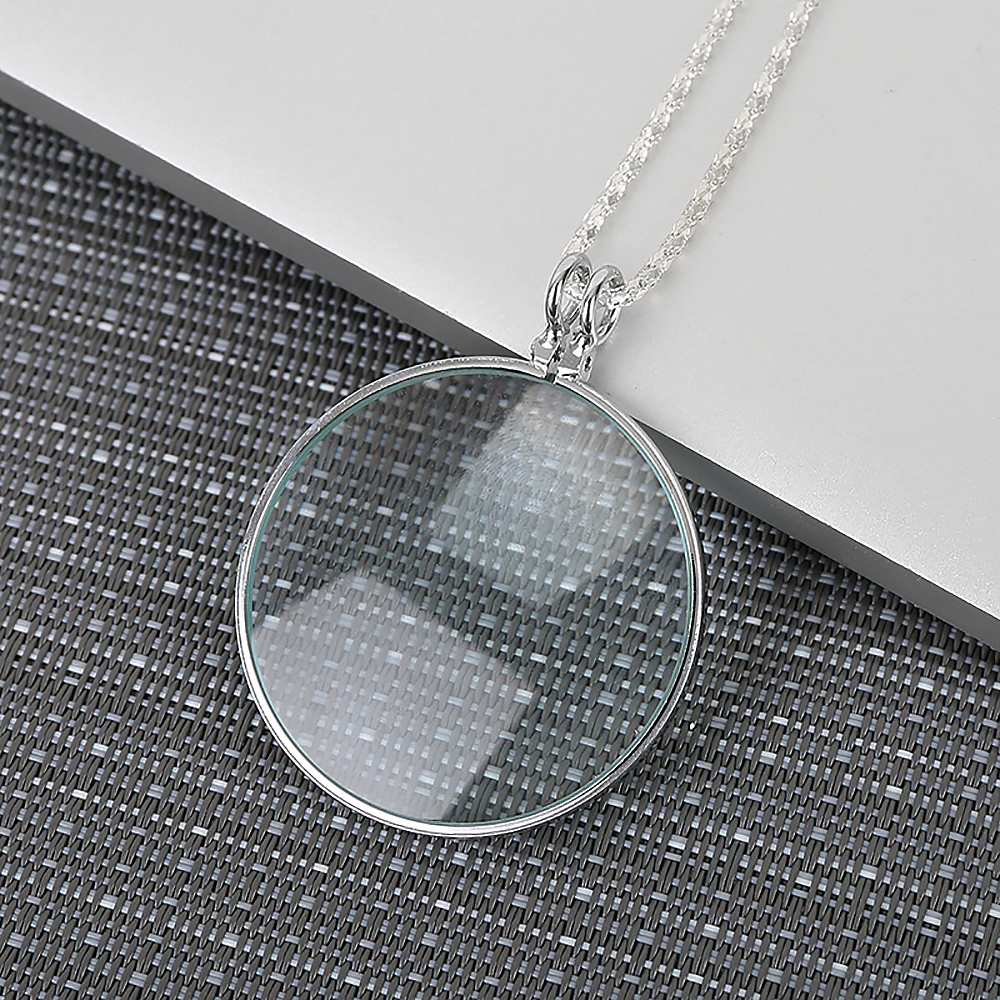 MONOCLE LENS NECKLACE W// 5X MAGNIFIER COIN MAGNIFYING GLASS PENDANT Beautiful