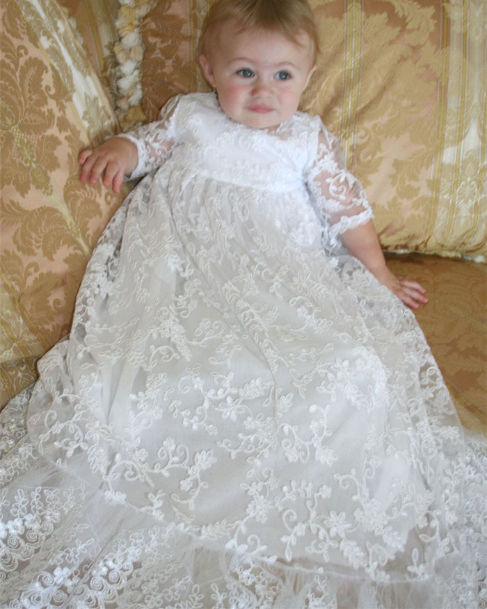 Lolita Baby Infant Christening Dress Baptism Gown Ivory White Lace Applique Baby Girl Party Dress 0 3 6 9 12 15 18 24Month
