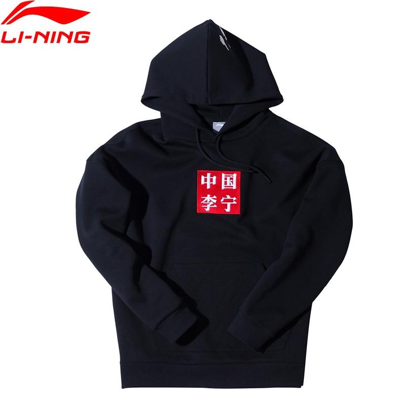 LI-NING hombres NYFW CHINA LI-NING grúa bordado HOODIE Loose Fit Cotton LiNing deportes suéter Comfort AWDN993 MWW1399
