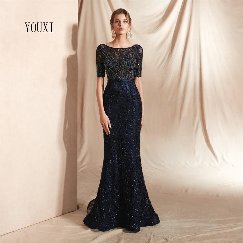 Robes de soirée élégantes demi manches 2019 nouvelle mode longue sirène perlée soirée formelle robes de bal