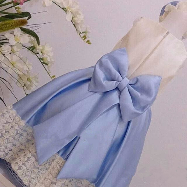 White Lace flower girl dresses with Light Blue Bow baby 1 year Birthday Party Dress wedding occasion ball gown custom made цена