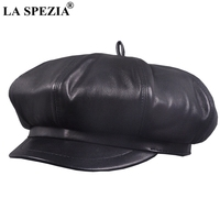 LA SPEZIA Newsboy Caps Berets Women Black Real Leather Octagonal Hat Ladies Genuine Leather Spring Autumn Classic Painter Caps