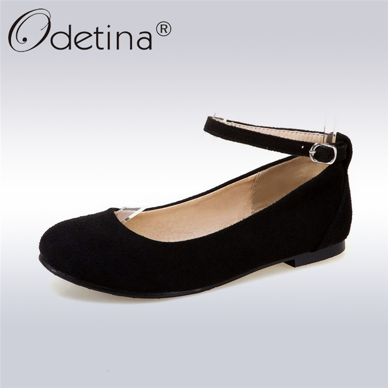 Odetina 2017 New Fashion Faux Suede Mary Jane Flat Shoes for Women Comfortable Flats Round Toe Female Casual Shoes Plus Size 43 odetina 2017 new summer women ankle strap ballet flats buckle hollow out flat shoes pointed toe ladies comfortable casual shoes