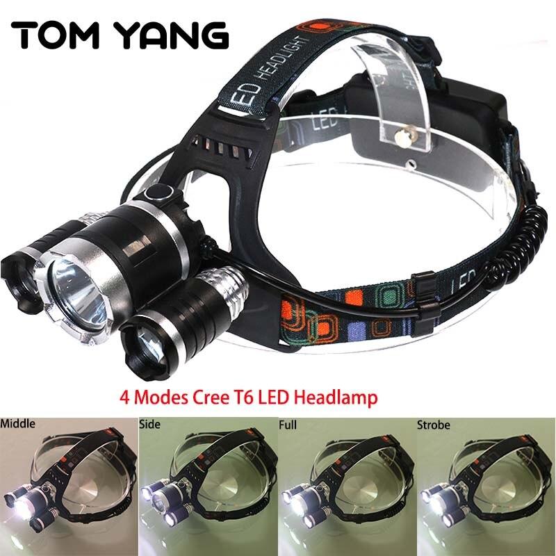 Focus Cree XM L T6 Powerful Headlamp LED Waterproof 4 Modes Headlight Camping Frontal Lantern Light