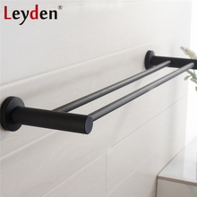 Leyden Black Stainless Steel Double Towel Bar Wall Mounted Bathroom Accessories Bath Towel Hangers Towel Rail Bathroom Hardware free shipping towel racks luxury bathroom accesserries golden finish bath towel shelves towel bar bath hardware db008k 1