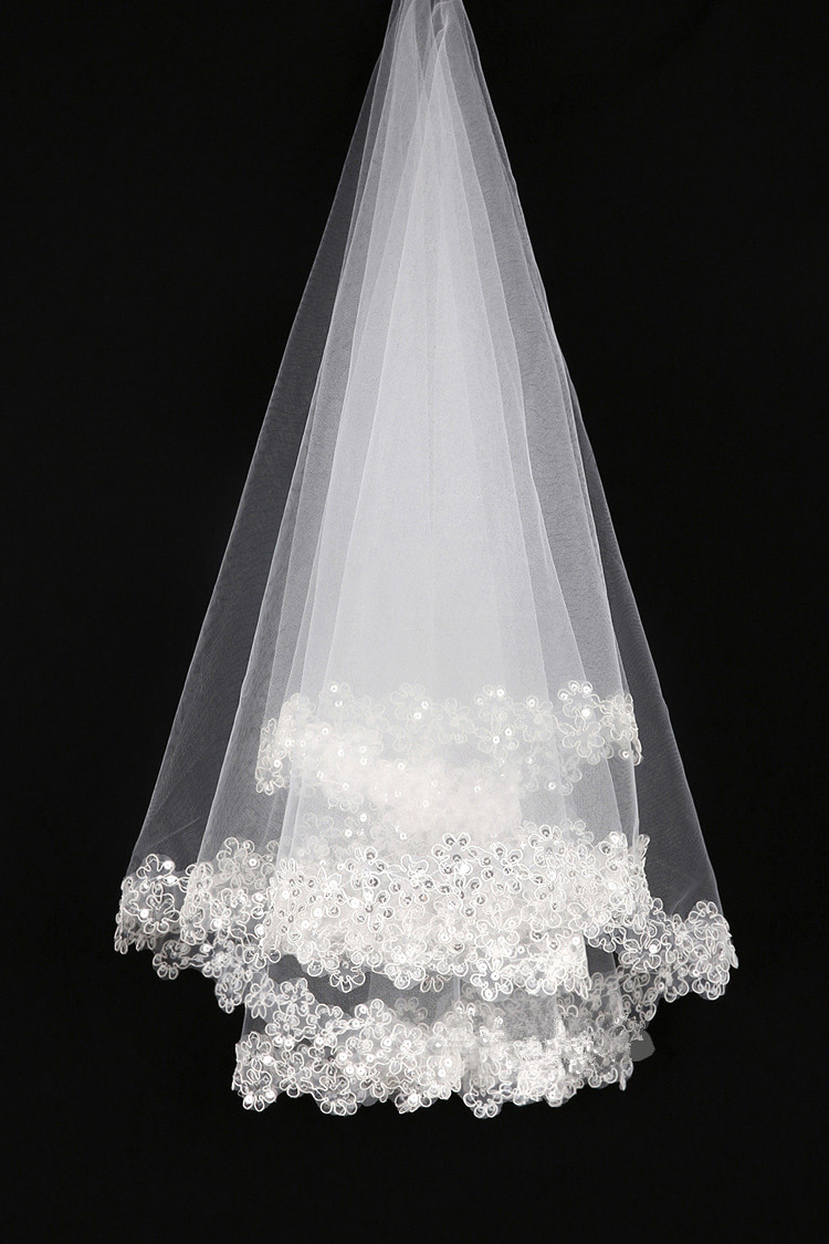 Hotfashion many little flower crown edge white lace sequins breathable net yarn short wedding accessories veilfree shipping in bridal veils from hotfashion many little flower crown edge white lace sequins breathable net yarn short wedding accessories veil