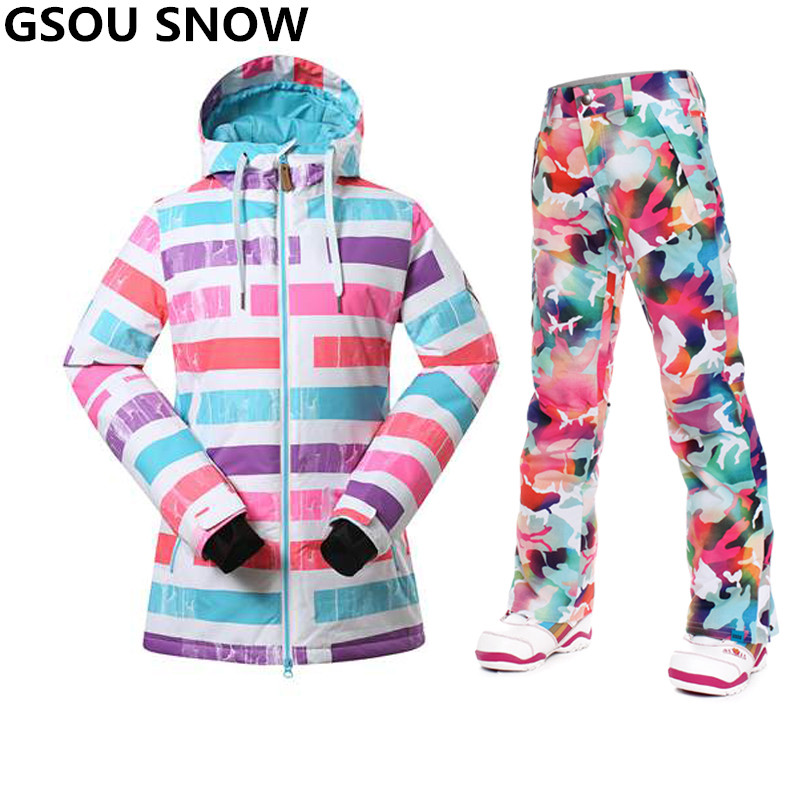 Prix pour Gsou Neige-30 Degrés L'hiver snowboard costumes femmes combinaison de ski coupe-vent Imperméable ski veste femmes en plein air snowboard pantalon