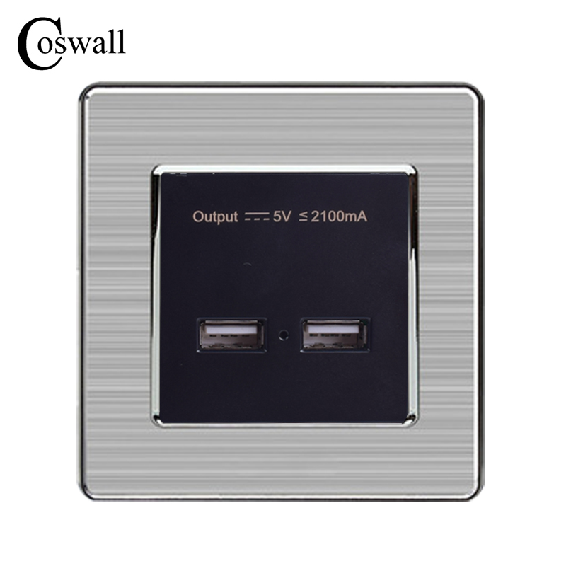 COSWALL Wall Power Socket Dual USB Smart Induction Charging Port For Mobile 5V 2.1A Output LED Indicator Stainless Steel Panel coswall wall socket uk standard power outlet switched with dual usb charge port for mobile 5v 2 1a output stainless steel panel