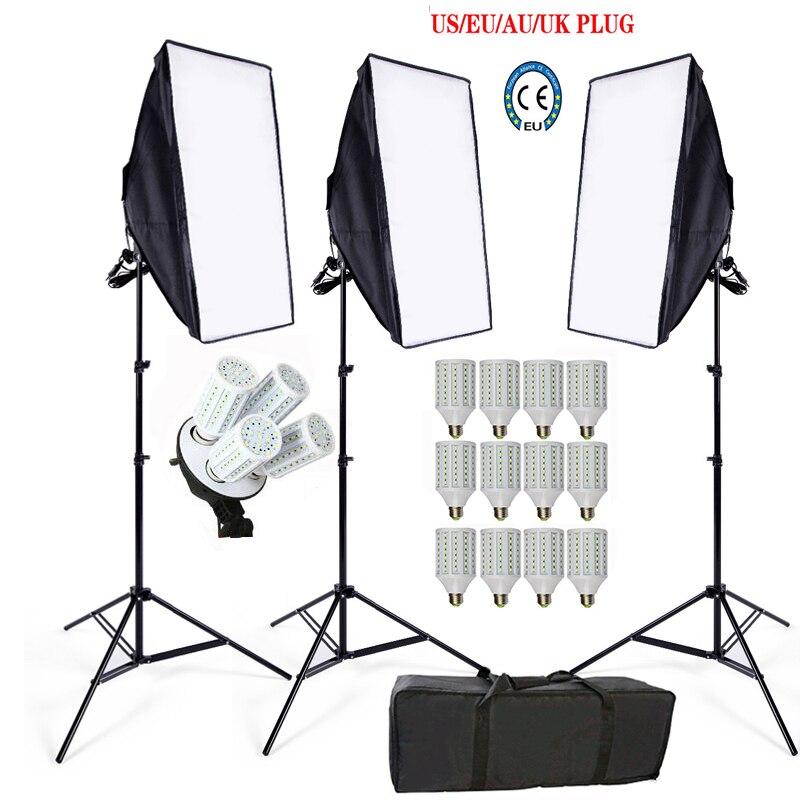 12 PCS 24 W E27 LED Photo Studio Softbox kit 3 lumière stand 3 lumière titulaire 3 softbox 1 pc sac de transport vidéo éclairage kit soft box