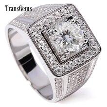 TransGems 2.3 CTW Carat Lab Grown Moissanite Diamond Solitaire Wedding Band 14K White Gold Engagement Ring for Gentle Men