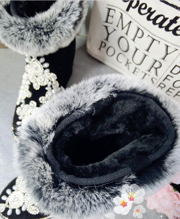 Noir Cuir Surélévation Fourrure Chaussures Mode Velours Plus Nouveau Chaud Strass Bottes Européenne Lapin Station En Nu Femmes De 4qztv0w