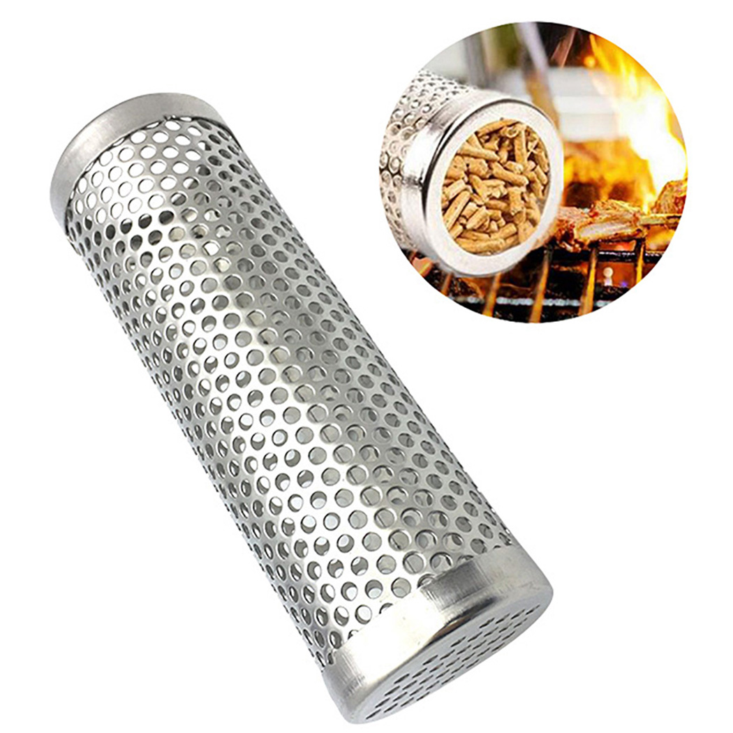 High Quality 6in Pellet Smoker Tube Stainless Steel Grill Smoker Grill Perforated Mesh Smoker Filter Gadget Hot Cold Smoking image