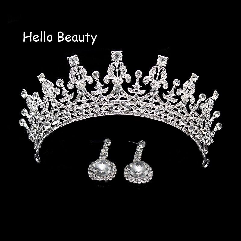 Acessório Do Cabelo Do Casamento de Luxo do vintage de Cristal Rainha do Baile de finalistas Da Tiara Da Princesa Coroa De Noiva Pageant Cabelo Jóias de Strass Véu