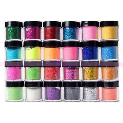 24 Colores Bling Del Polvo Del Brillo Del Arte Del Clavo Polvo de Acrílico UV Manicura Decoración Conjuntos 2015 Nueva Promoción de La Llegada
