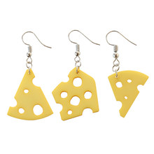 Free Shipping Single Earring Cute Cream Cheese Pizza Lotus root Acrylic Earrings jewelry for women Irregular Earrings single(China)